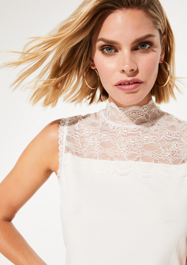Jersey top with delicate lace embellishments from comma