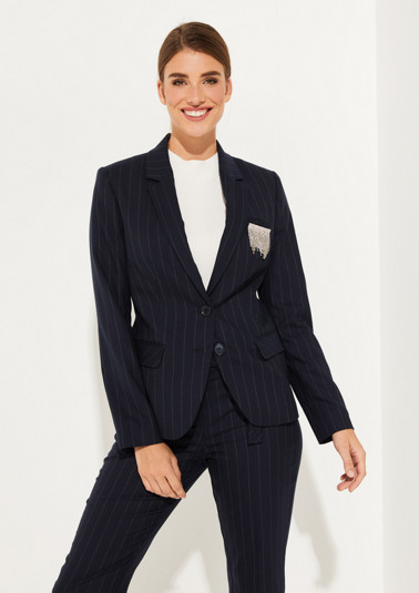 Business blazer with classic pinstripe pattern from comma