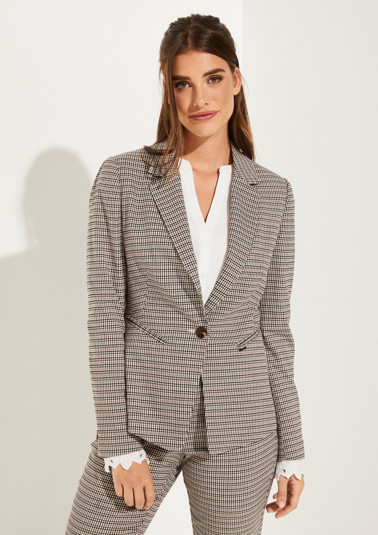 Blazer with classic Prince of Wales check pattern from comma
