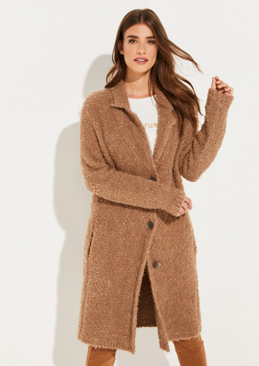 Cosy long cardigan with sophisticated details from comma