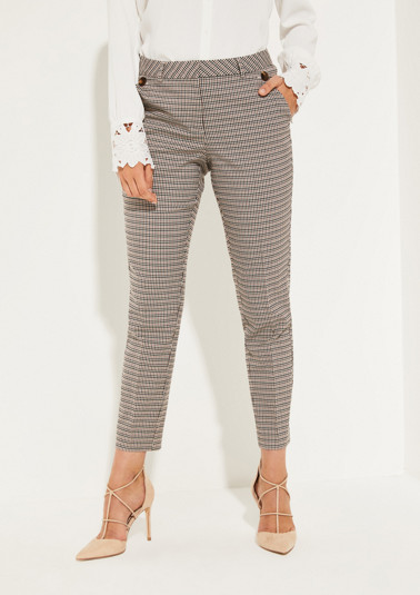 Trousers with classic Prince of Wales check pattern from comma
