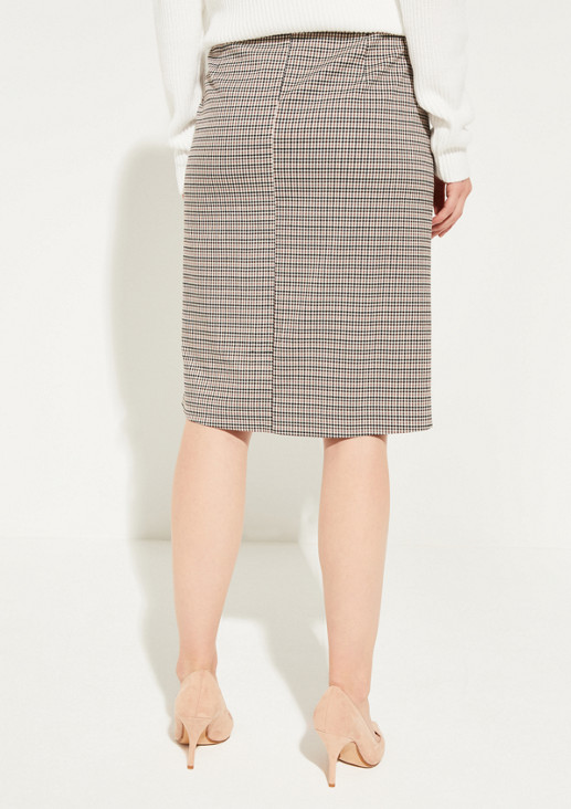 Long skirt with fine Prince of Wales check pattern from comma