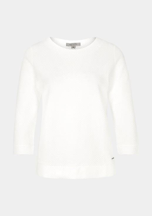 Lässiges 3/4-Arm Shirt mit dekorativem Strukturmuster