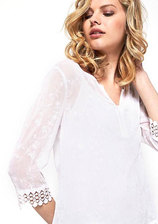 3/4-Arm Bluse aus hauchzartem Chiffon