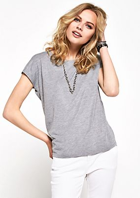 Short sleeve T-shirt with glittery striking yarn from s.Oliver