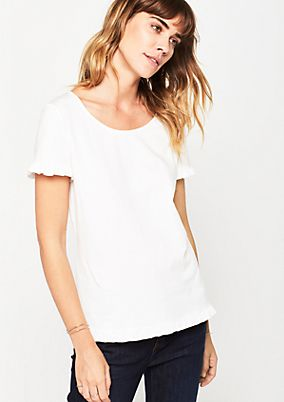 Short sleeve jersey top with ruffled decoration from comma