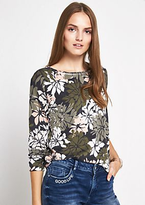 Strickpullover mit dekorativem Floral-Alloverprint