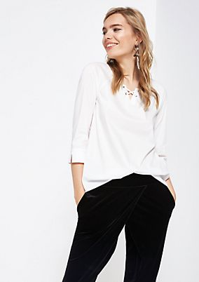 Blouse with 3/4-length sleeves and smart details from comma