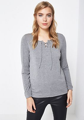 Jersey long sleeve top with sophisticated details from comma
