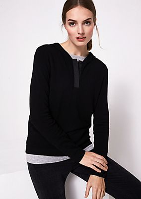 Soft knit hoodie with decorative details from comma