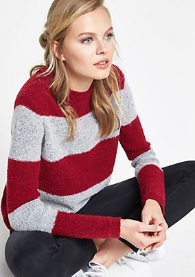Cosy bouclé jumper in a block stripes look from comma