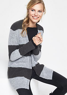 Cosy bouclé jacket in a block stripes look from comma