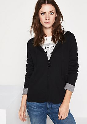 Hoodie cardigan with sophisticated details from comma
