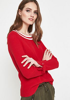 Warm knitted jumper with fine details from comma