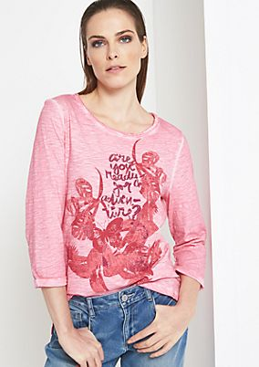 3/4-Arm Shirt mit Statement-Frontprint