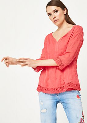 Delicate 3/4-length sleeve chiffon blouse with decorative embroidery from comma