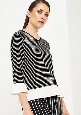 3/4-sleeve knit top with striped pattern from comma