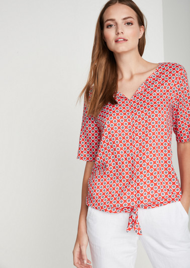 Short sleeve blouse with a polka dot pattern from comma