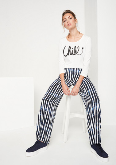 Lightweight summer trousers with vertical stripes from comma