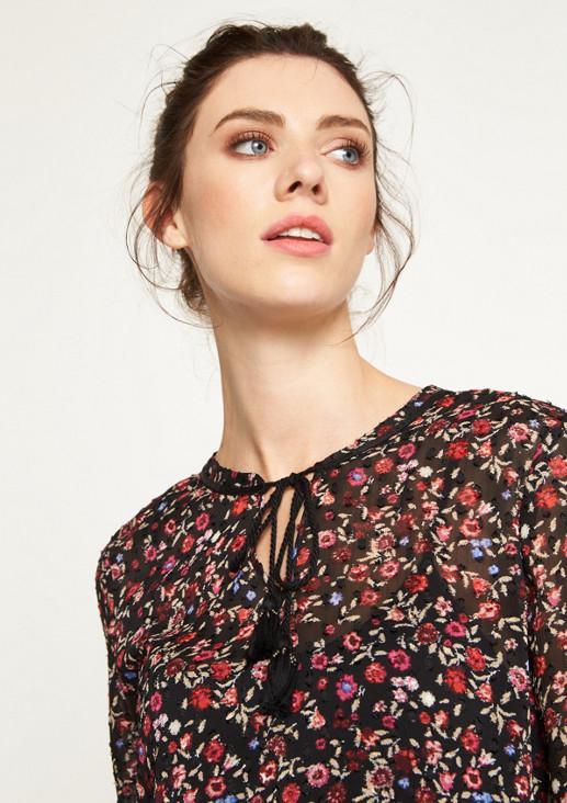 Chiffonbluse mit farbenprächtigem Floralmuster