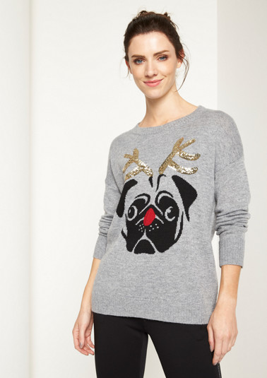 Knit jumper with a Christmas motif from comma