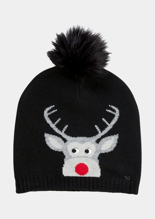 Fine knit hat with a reindeer motif from comma