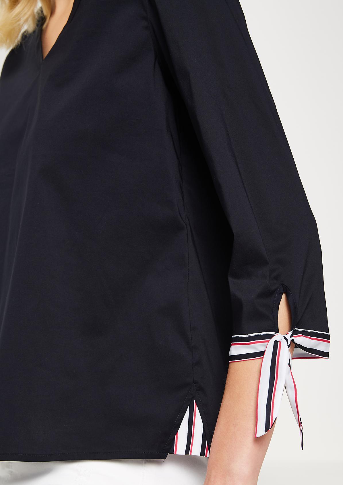 3/4-Arm Bluse mit feinen Streifendetails