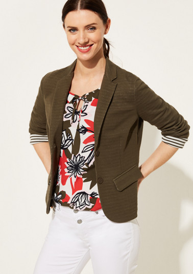 Lightweight jersey blazer in a muted striped pattern from comma