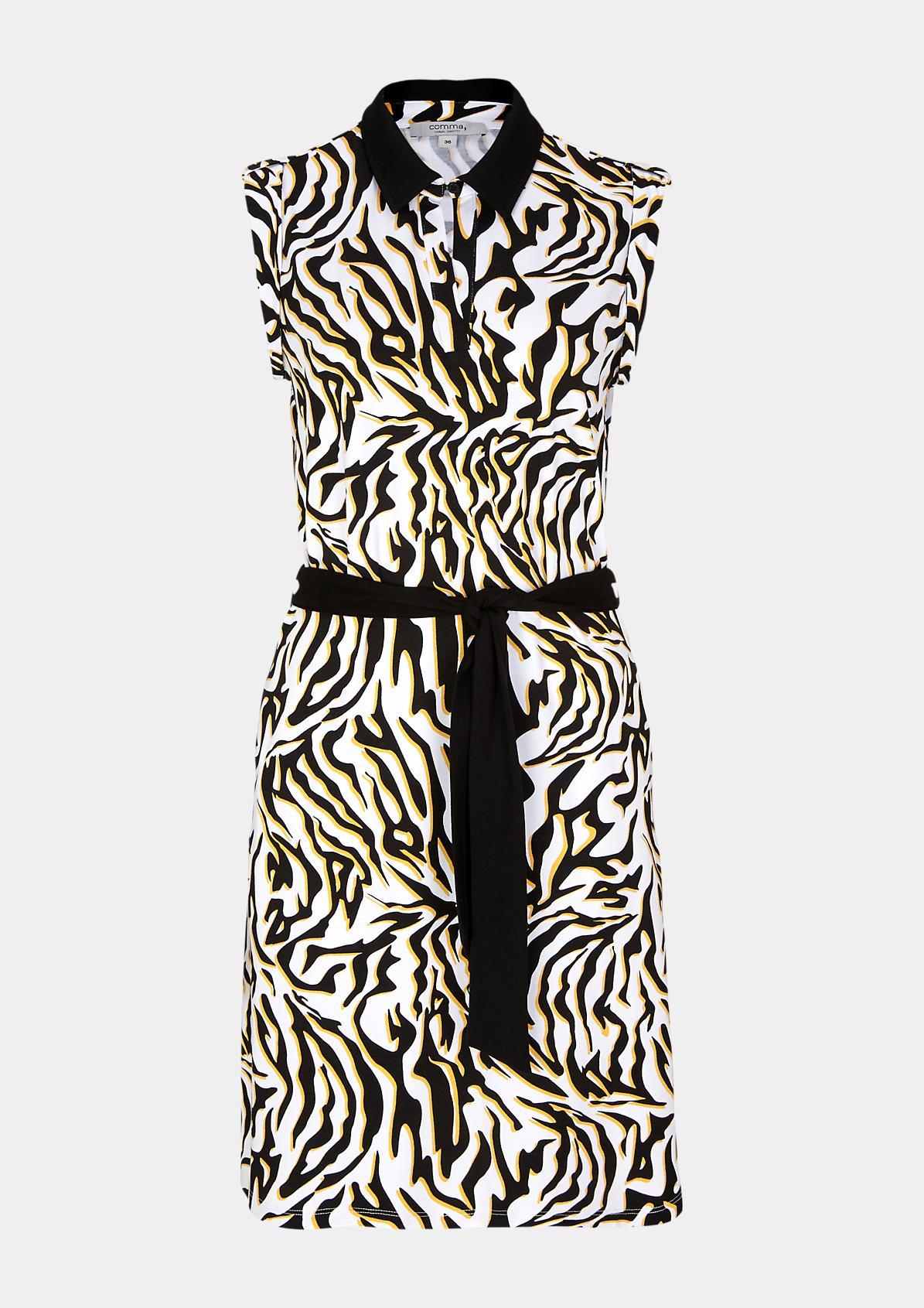 Jerseykleid mit aufwendig gearbeitetem Allovermuster