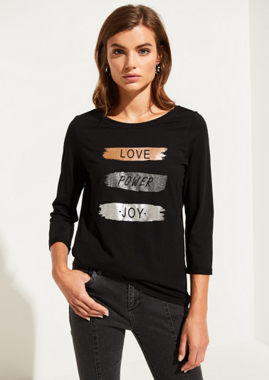 3/4-sleeve jersey top with a statement print from comma