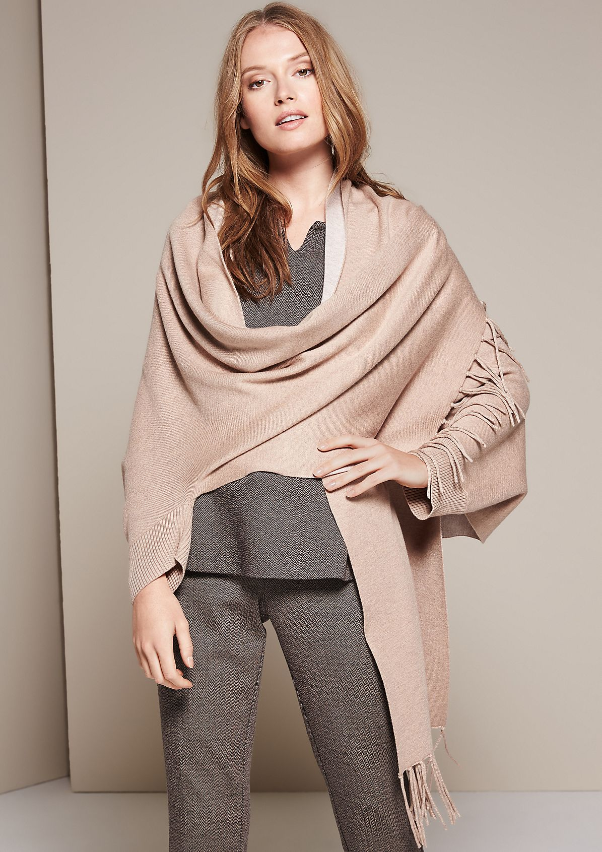 Soft knit poncho with a shawl collar from s.Oliver