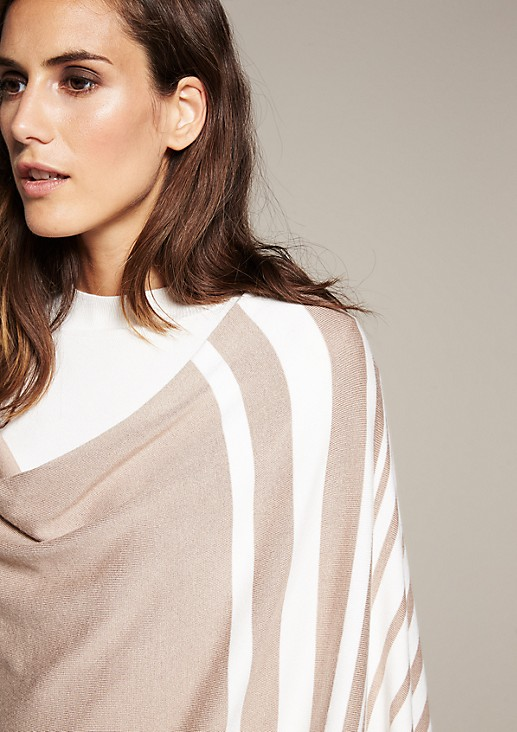 Lightweight knitted poncho with a beautiful striped pattern from comma