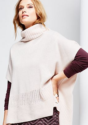Warm knit poncho with a polo neck from comma