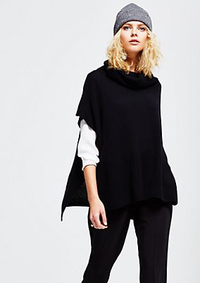 Warm knit poncho with a polo neck from s.Oliver