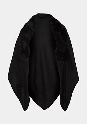 Double-layered knitted poncho with a cosy fake fur trim from comma