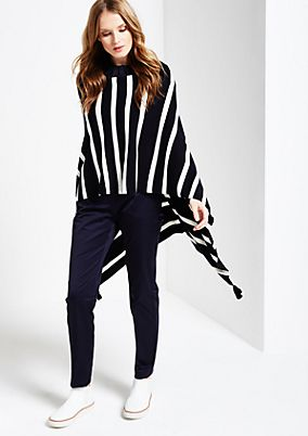 Soft knit poncho with stripes from s.Oliver