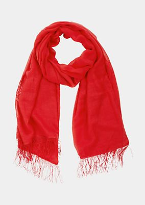 Delicate scarf with decorative fringing from comma