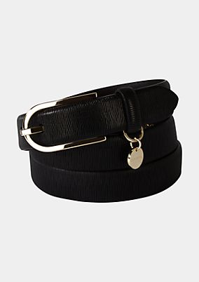 Wide leather belt with a gold-coloured buckle from s.Oliver