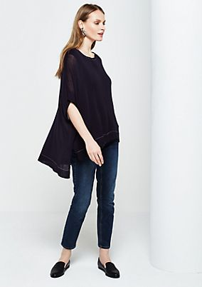Summery fine knit poncho with sophisticated details from s.Oliver