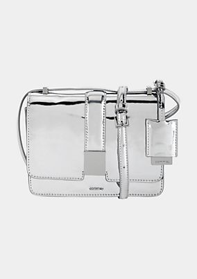 Extravagant evening bag with a silver-coloured patent finish from s.Oliver