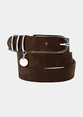 Wide genuine leather belt with silver tone buckle from s.Oliver