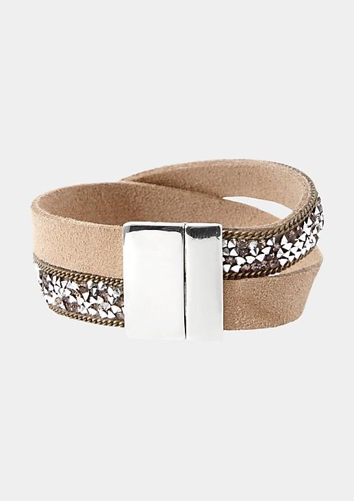 Armband aus Fake-Leder mit Schmucksteinverzierungen