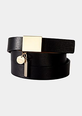Wide genuine leather belt with gold tone buckle from s.Oliver