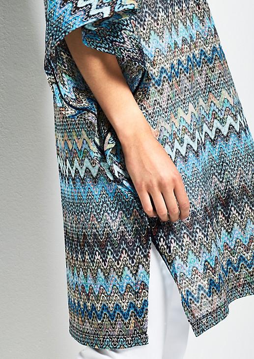 Strickponcho mit farbenprächtigem Musterspiel