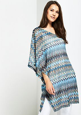 Knitted poncho with a colourful pattern from s.Oliver
