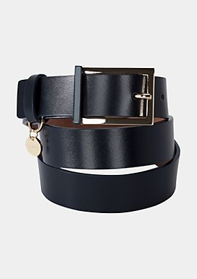 Elegant leather belt with a gold-coloured buckle from s.Oliver