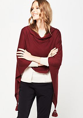 Soft knit poncho with tassels from s.Oliver