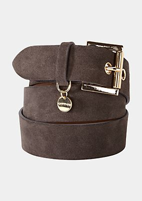 Genuine leather belt with gold tone buckle from s.Oliver