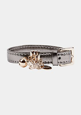 Bracelet in faux leather with a silver sheen from comma