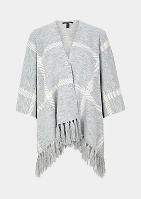 Fine knit poncho with a fringed trim from comma